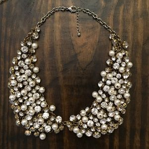 Jewelry - Statement collar necklace gems pearls silver